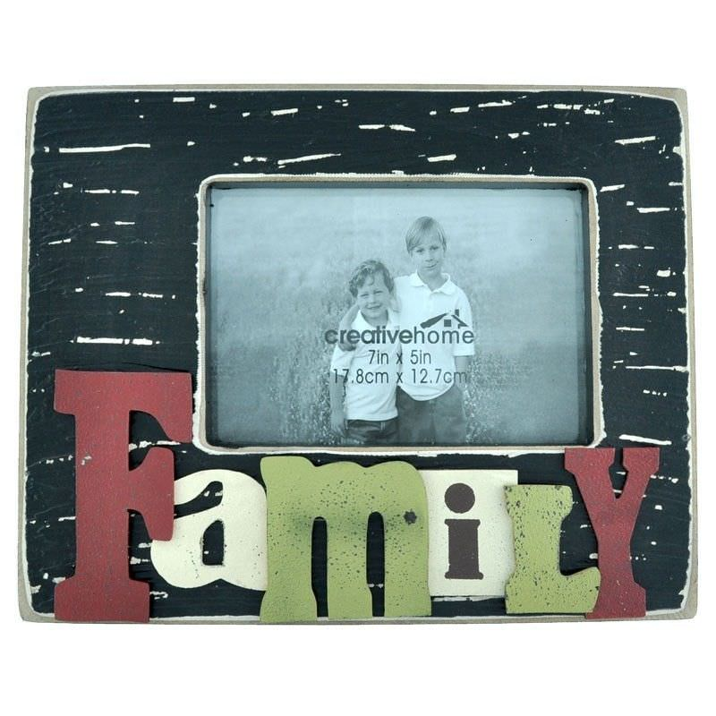 Rectangle Wooden Photo Frame with 3D Raised Letters - Family