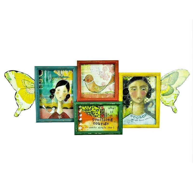 Seeker Butterfly Wings Shaped Collage Frames Wall Art  - 62cm