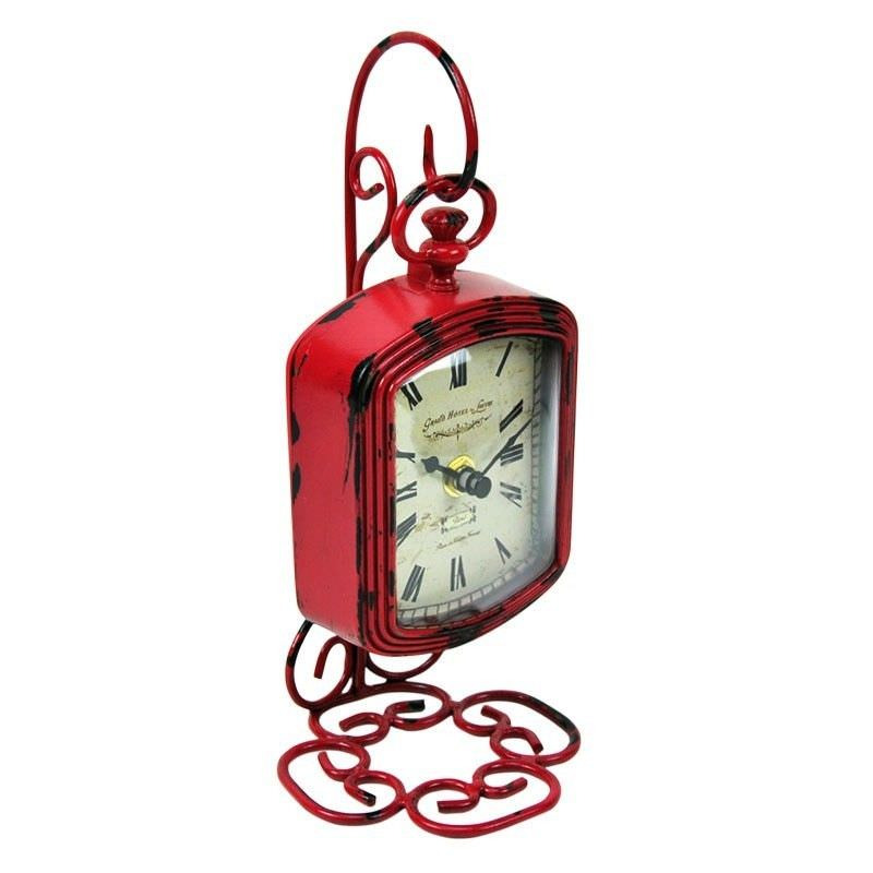 Victoria Red Metal Stand Clock - 24cm