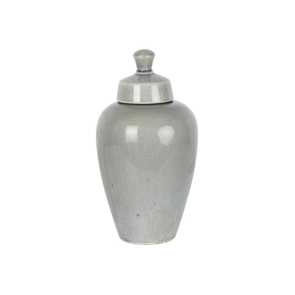 Harbor Ceramic Round Ginger Jar, Small, Pearl Grey