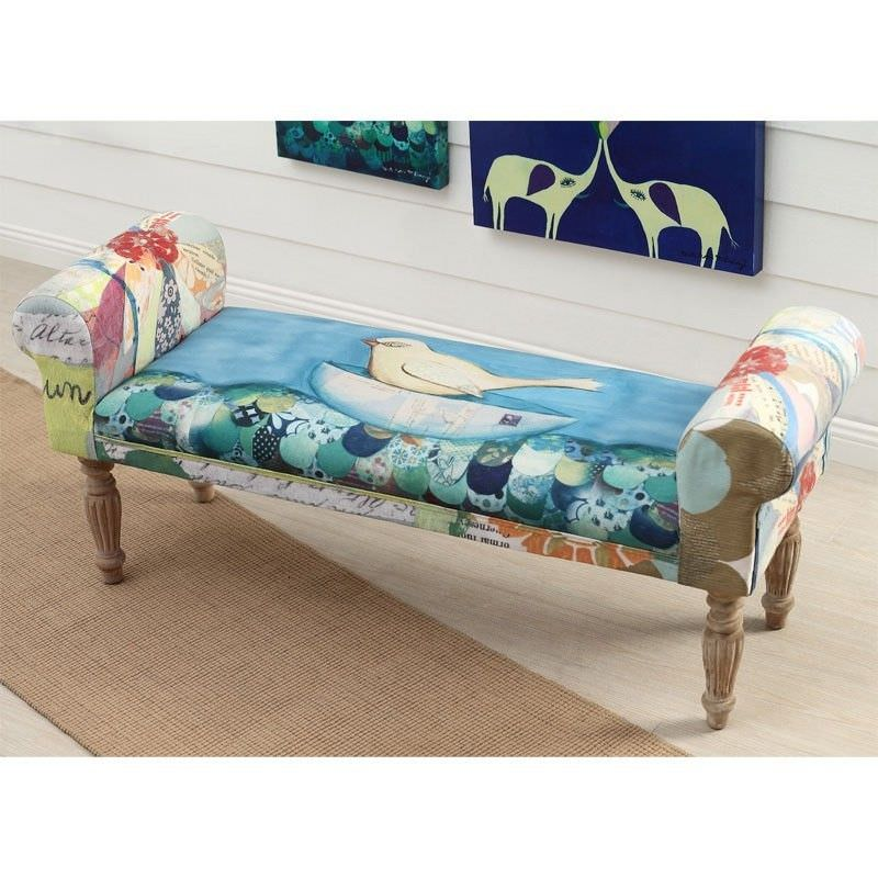 Sloane Wood and Fabric Upholstered Bench