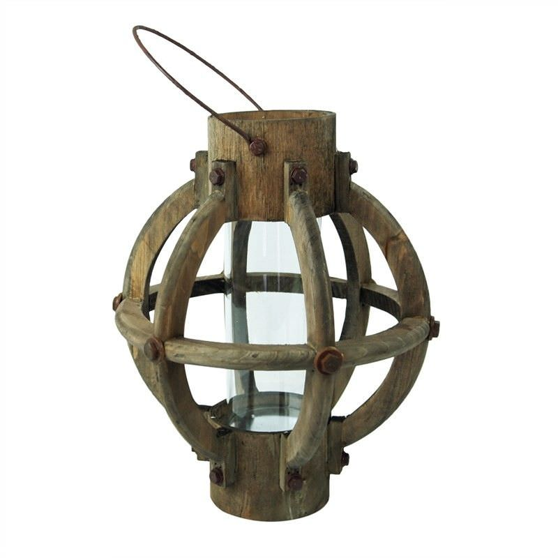 Rustic Fir Timber Globe Shaped Lantern with Glass Insert