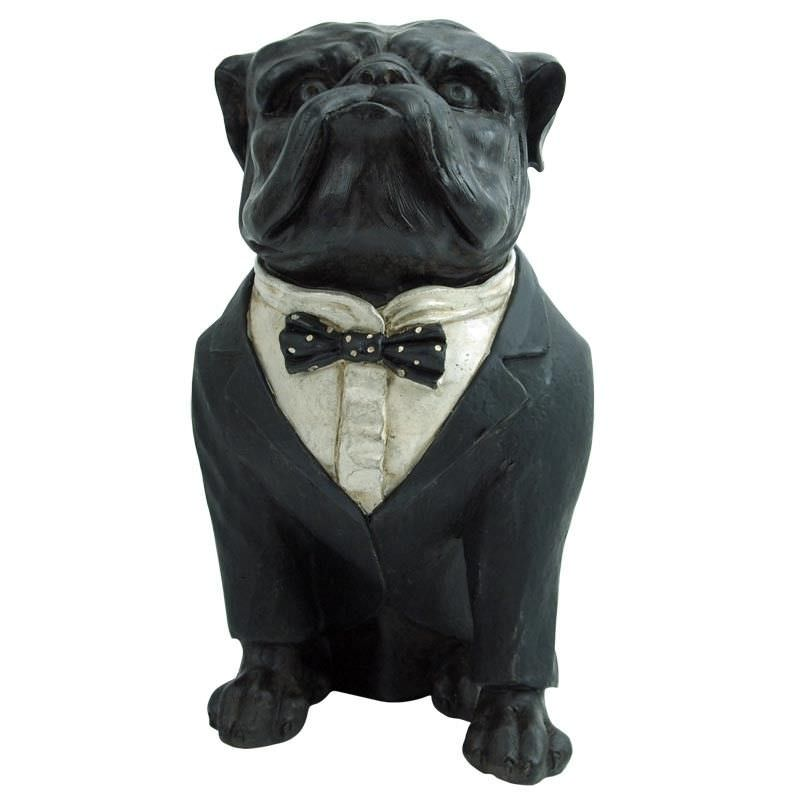 Elegant Resin Bulldog in Suit Table Decor
