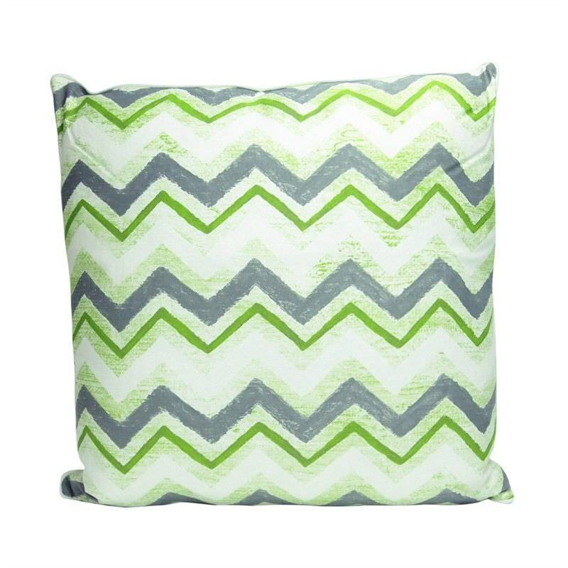 Green Chevron Cotton and Linen Cushion