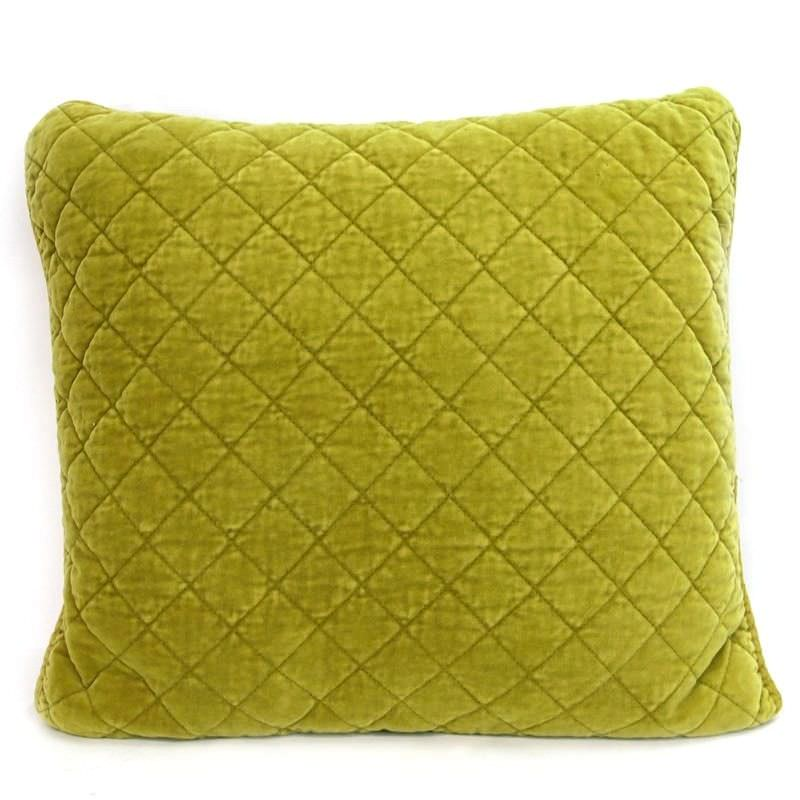 Square Quilted Cotton Pillow - Chartreuse
