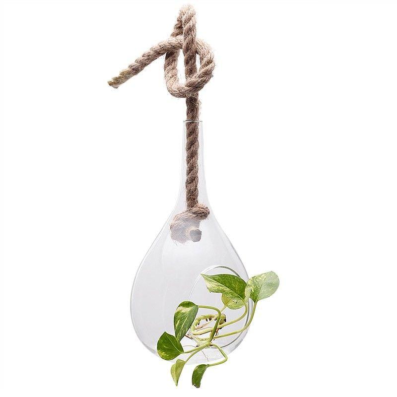 Floretta Petite Hanging Glass Vase with Jute Rope - Large
