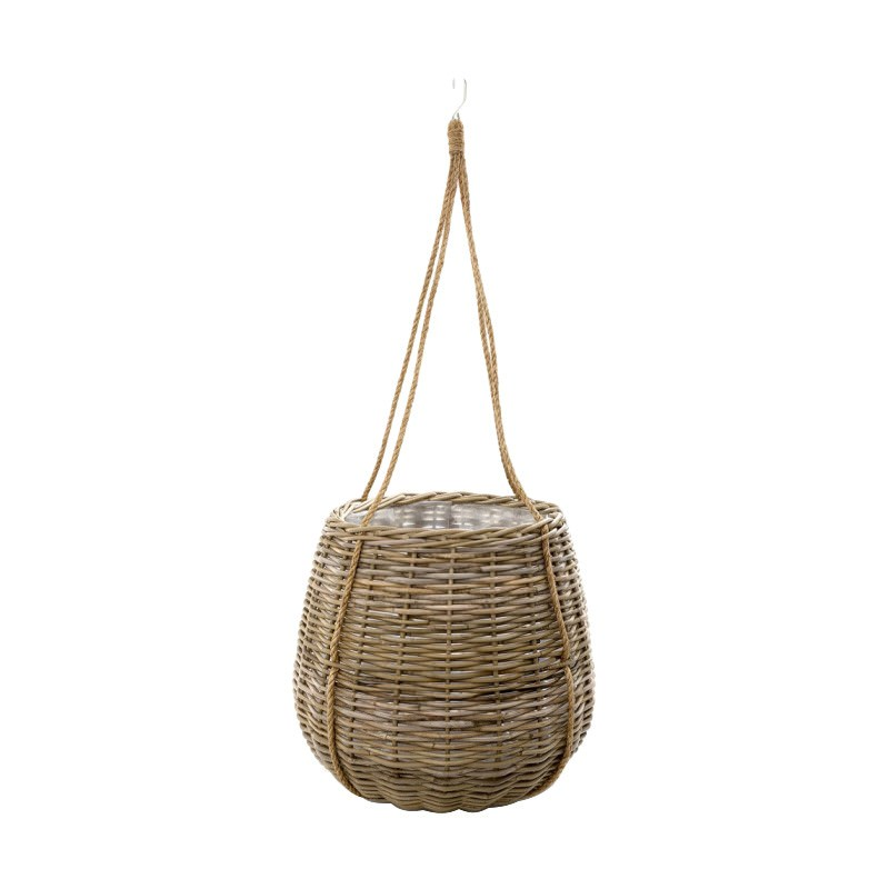 Cancun Rattan Hanging Basket Planter, Large