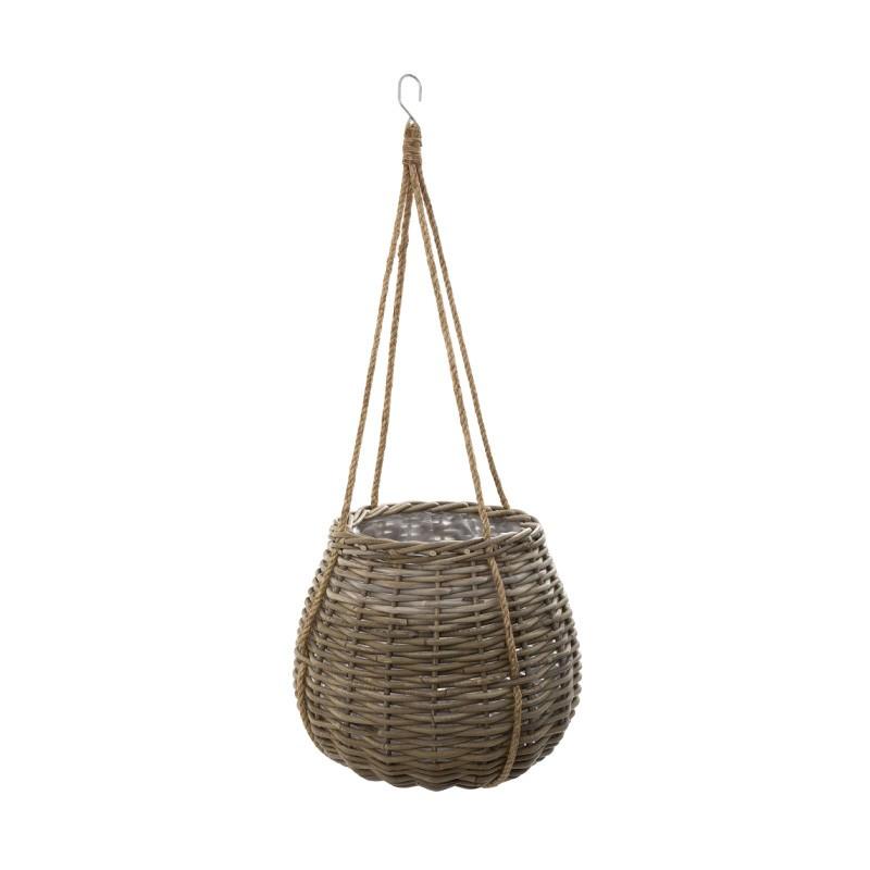 Cancun Rattan Hanging Basket Planter, Mediuim