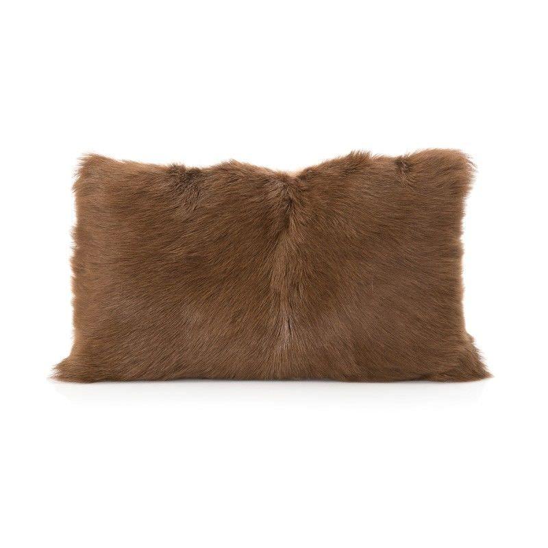 Petra Goat Fur Lumbar Cushion, Brown