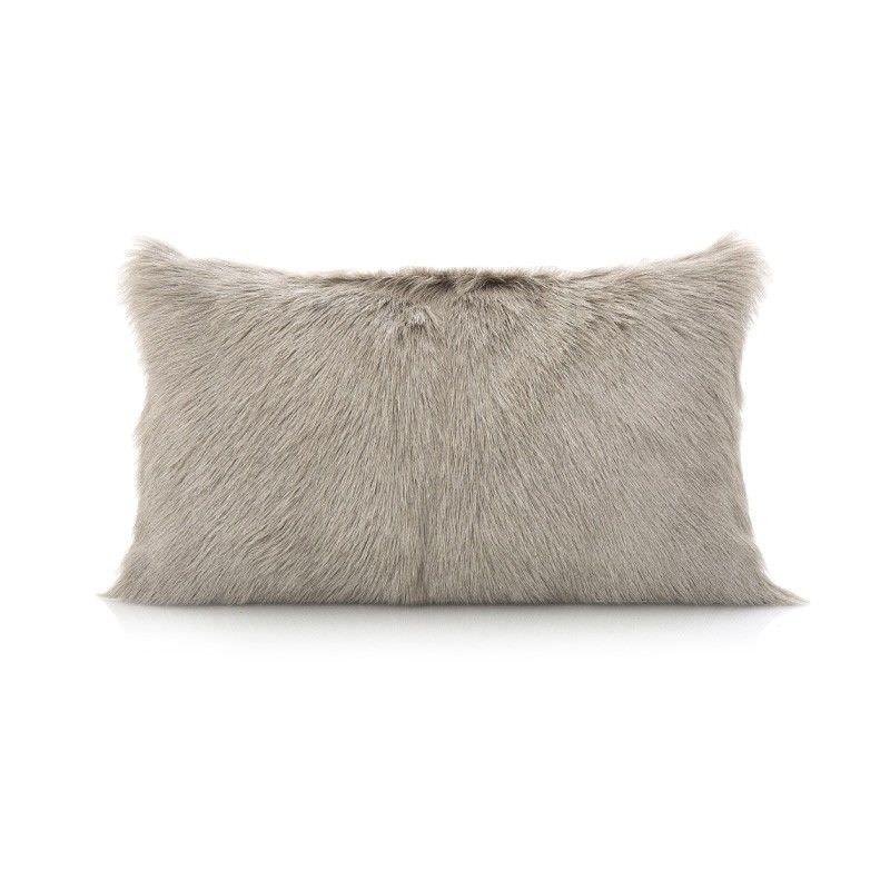 Petra Goat Fur Lumbar Cushion, Grey
