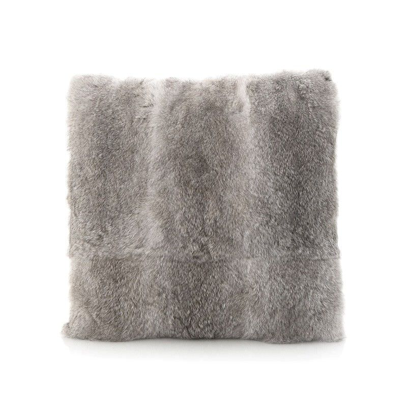 Petra Rabbit Fur Scatter Cushion, Grey