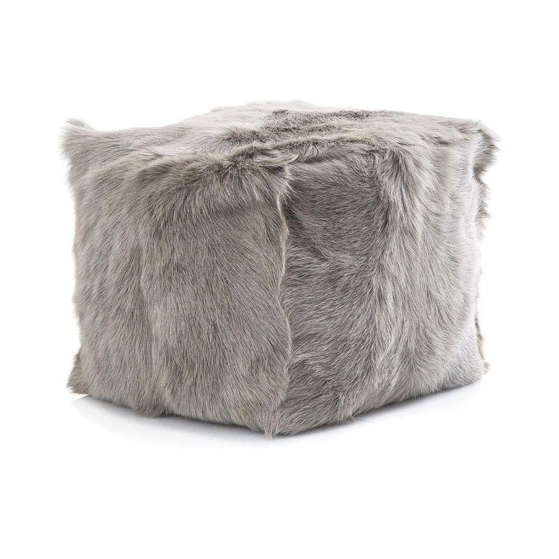 Petra Goat Fur Square Pouf, Grey