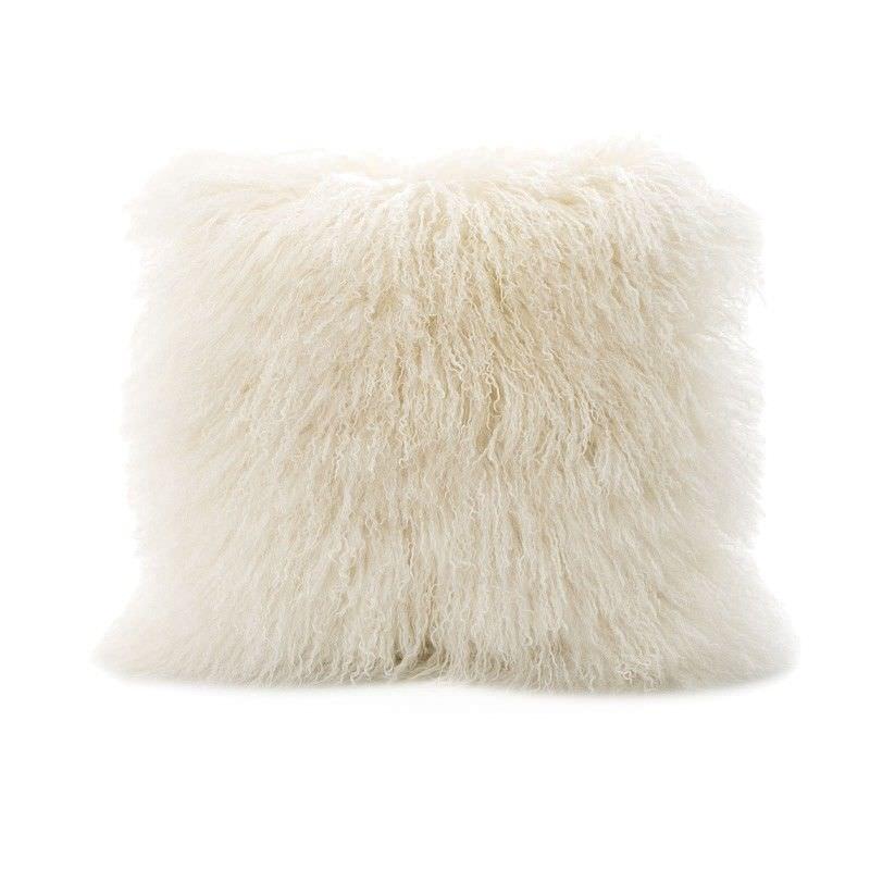 Tibetan Natural Lambswool Scatter Cushion, White