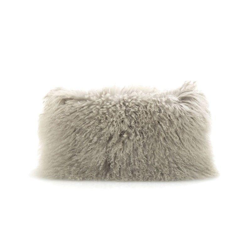 Tibetan Natural Lambswool Lumbar Cushion, Grey