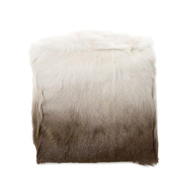 Petra Ombre Faux Fur Square Pouf, Brown / White