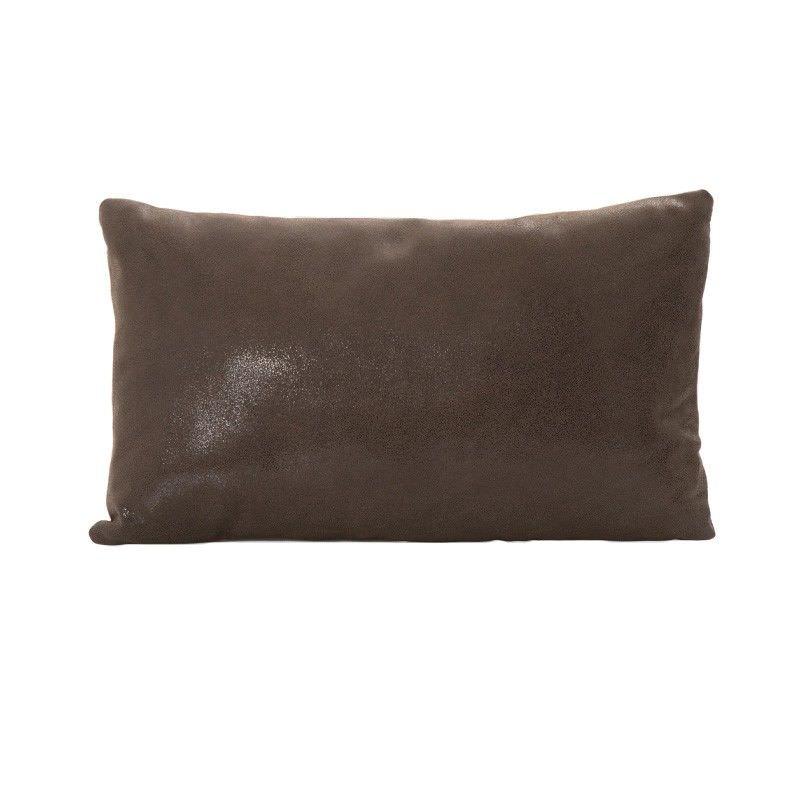 Tibetan Leather Foil Fabric Lumbar Cushioin, Brown