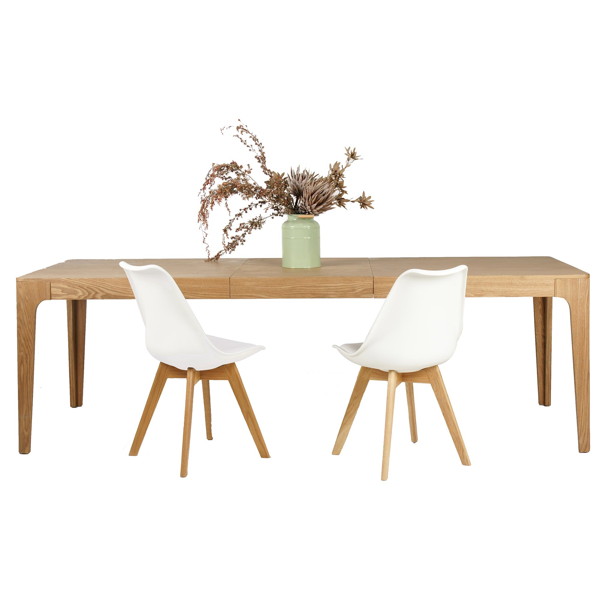 Dario 9 Piece Timber Extendable Dining Table Set, 180-240cm, with White Morrison Chair