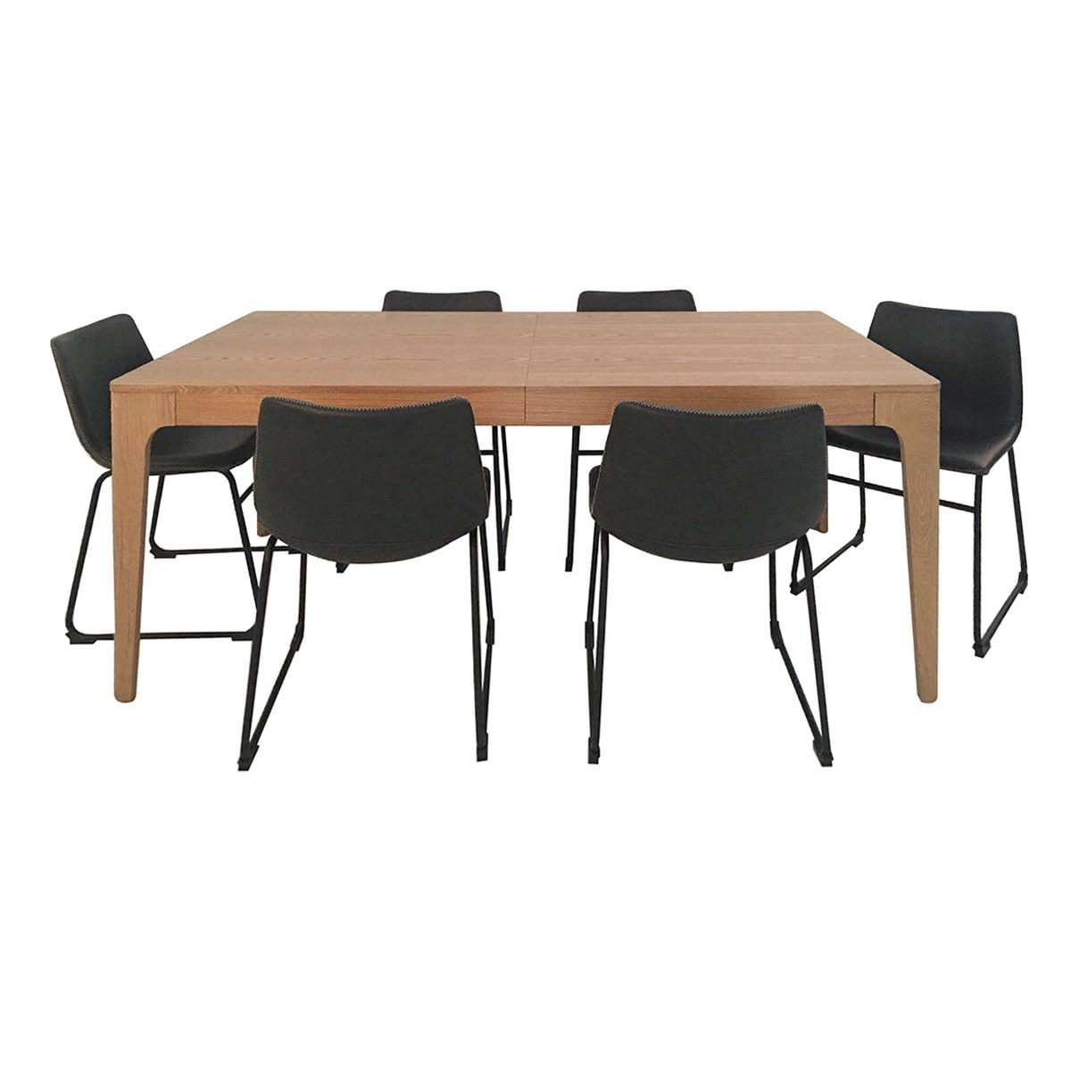 Dario 7 Piece Timber Extendable Dining Chair, 180-240cm, with Perry Chair