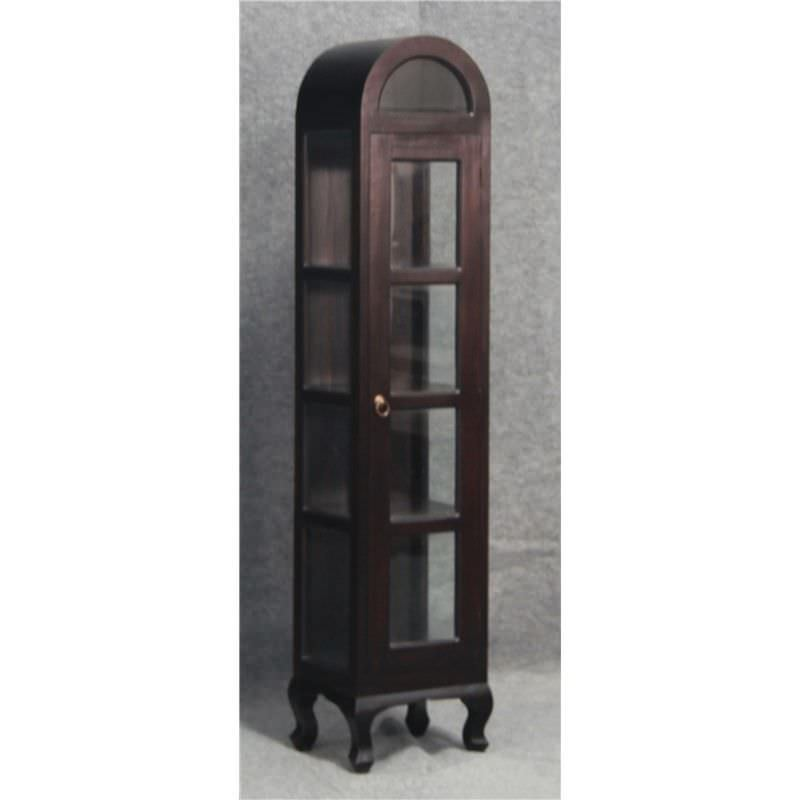 Gaidar Solid Mahogany Timber Single Door Display Cabinet - Chocolate