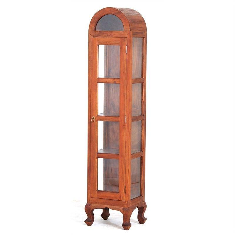 Gaidar Mahogany Timber Single Door Display Cabinet, Large,  Light Pecan