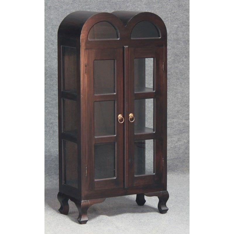 Gaidar Small Solid Mahogany Timber Double Door Display Cabinet - Chocolate