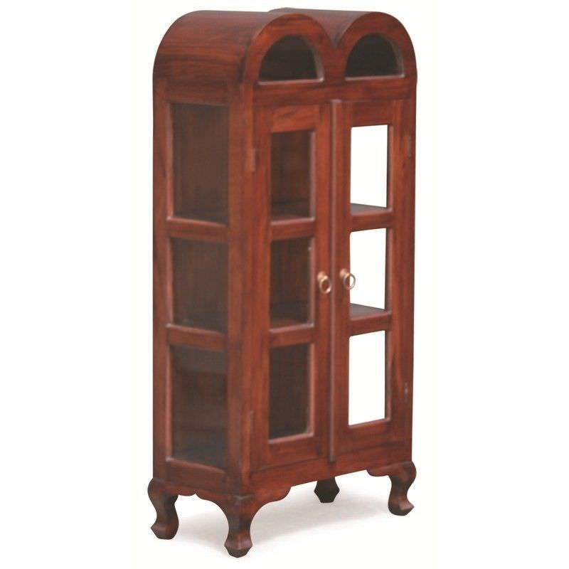 Gaidar Small Solid Mahogany Timber Double Door Display Cabinet - Mahogany