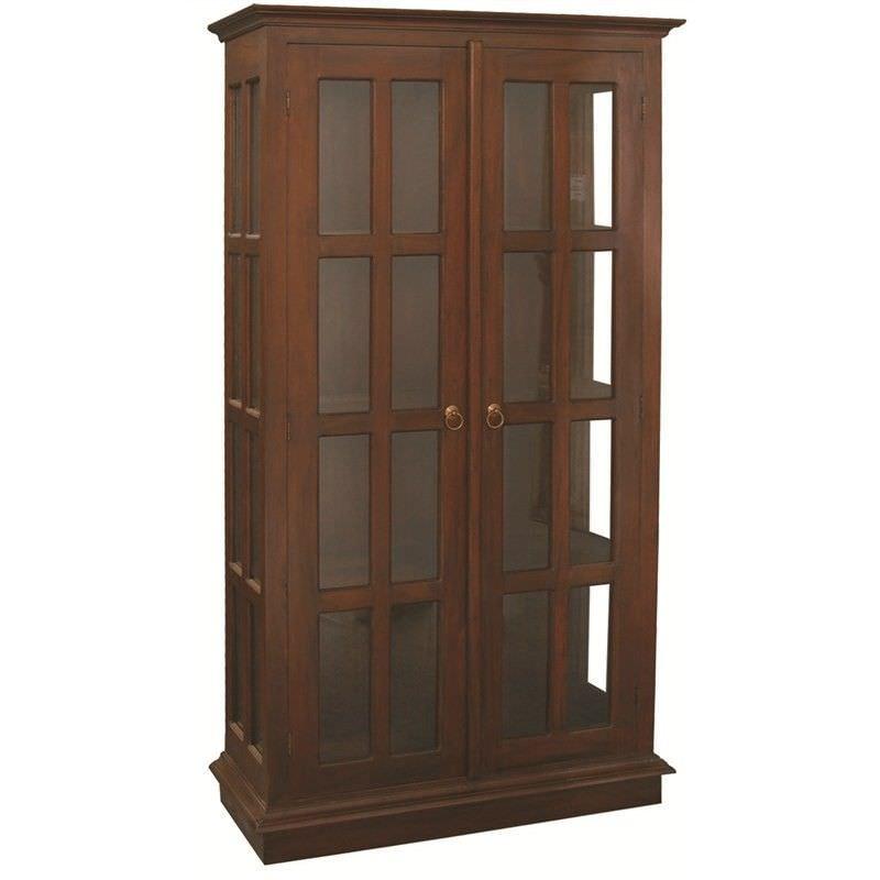 Three-Shelf + 2 Door Solid Mahogany Display Cabinet - Mahogany