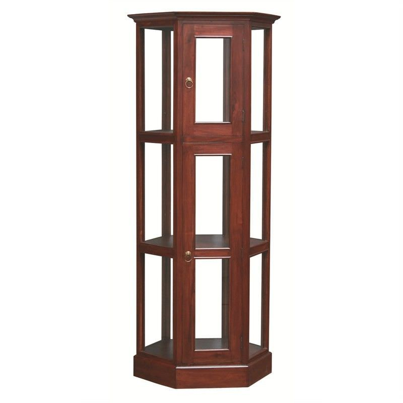 Double-Shelf Hexagonal Solid Mahogany Display Cabinet - Mahogany