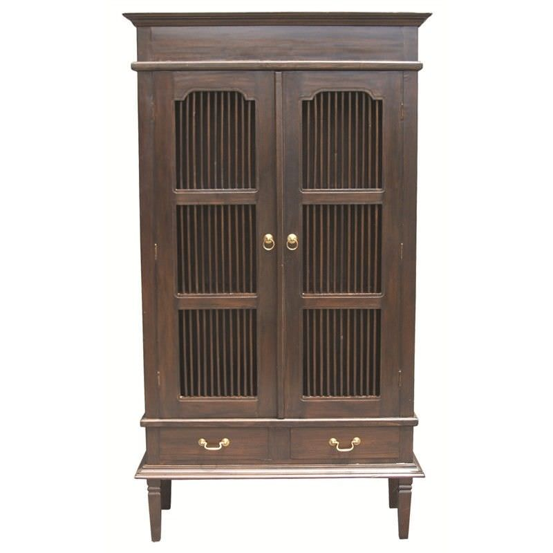 Ruji Solid Mahogany Timber 2 Door 2 Drawer Cupboard / Display Cabinet - Chocolate