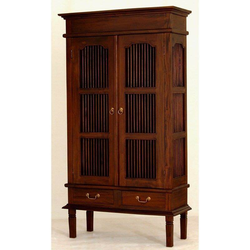 Ruji Solid Mahogany Timber 2 Door 2 Drawer Display Cabinet / Cupboard - Mahogany