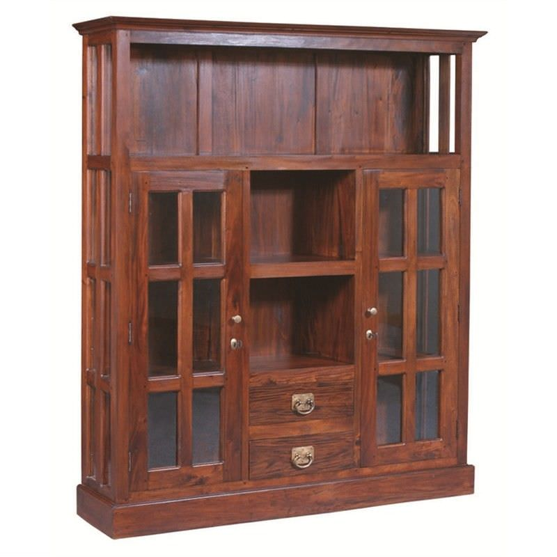 Two Drawer + 2 Glass Door Solid Mahogany Display Cabinet - Mahogany