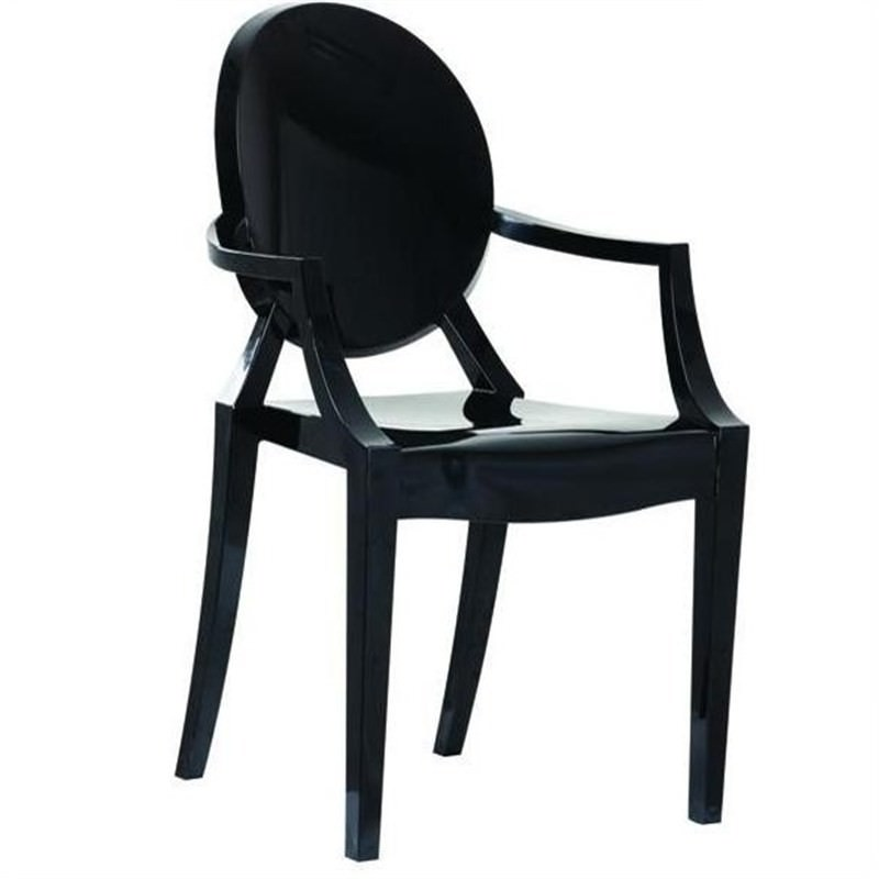 Commercial Grade Replica Philippe Starck Louis Ghost Dining Armchair - Black