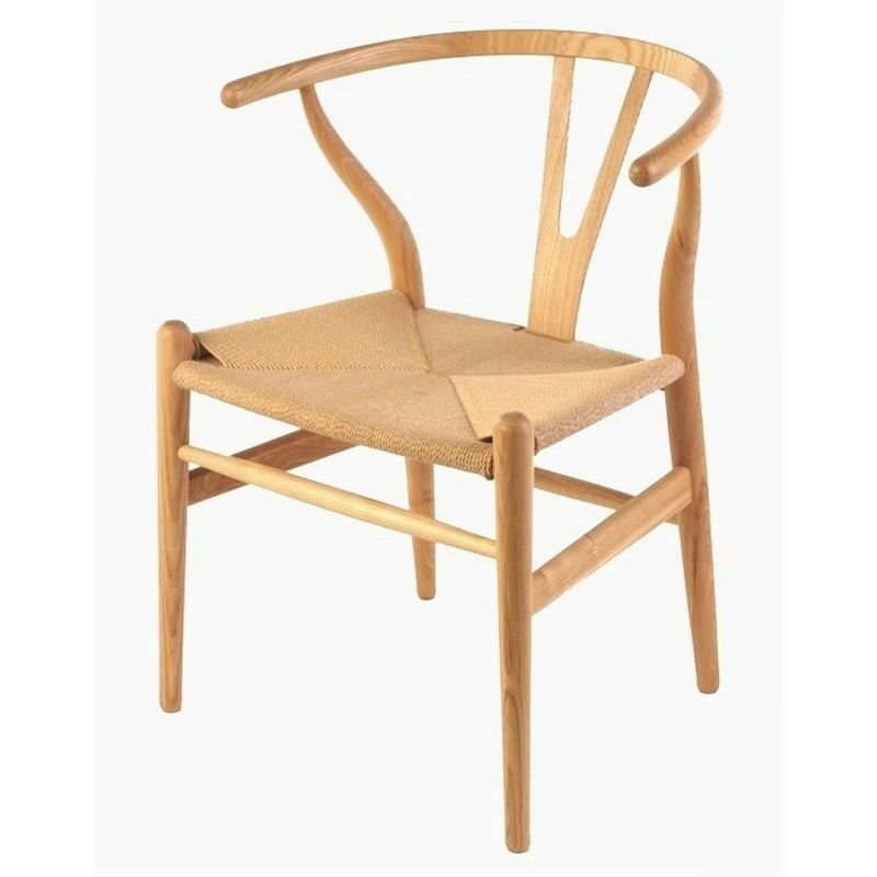 Replica Hans Wegner Wishbone Chair with Cord Seat, Natural