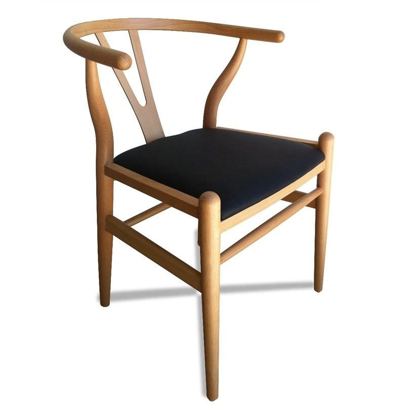 Replica Hans Wegner Wishbone Chair with PU Seat, Natural
