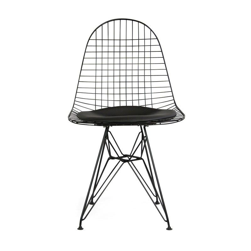 Replica Eames Wire Chair with PU Seat, Black