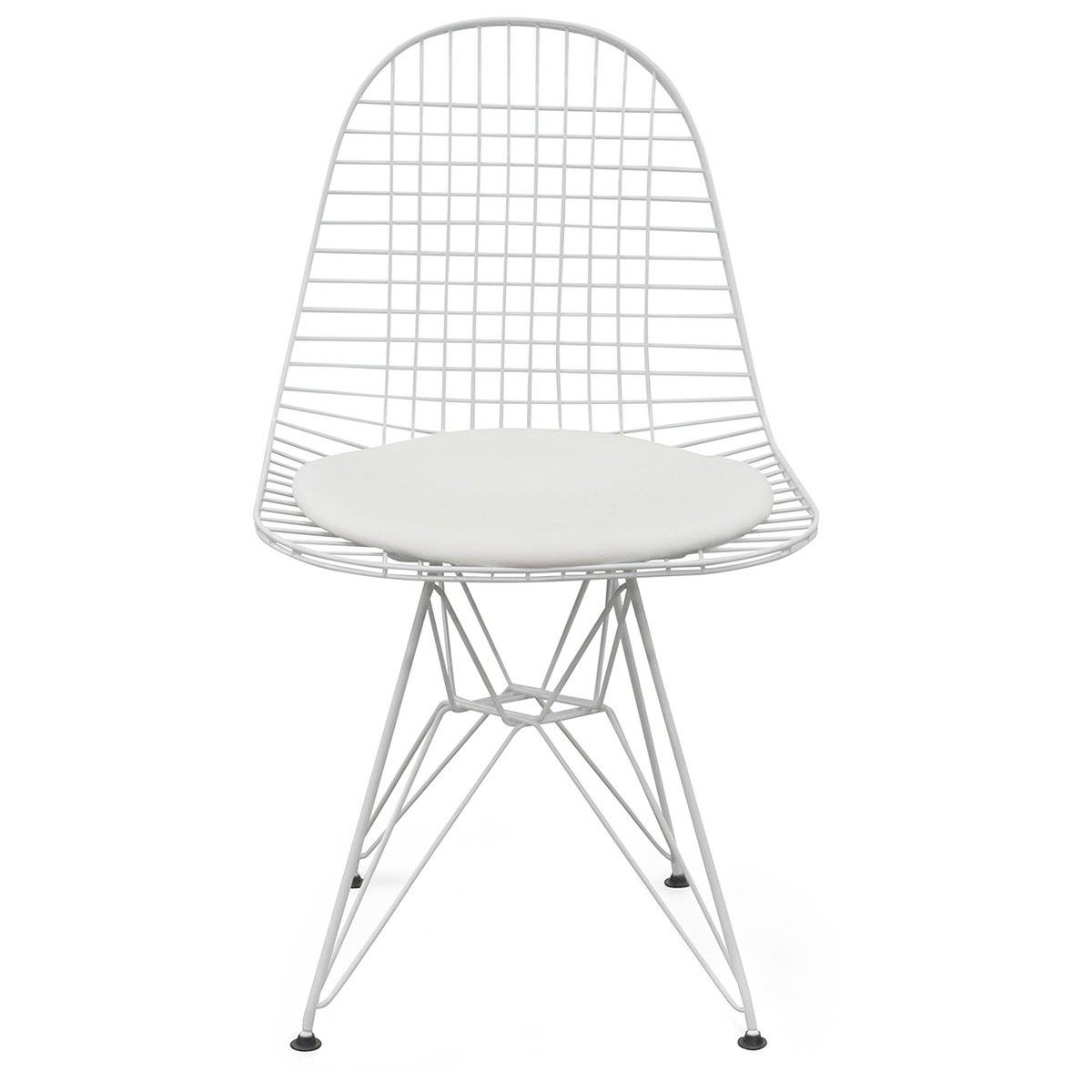 Replica Eames Wire Chair with PU Seat, White