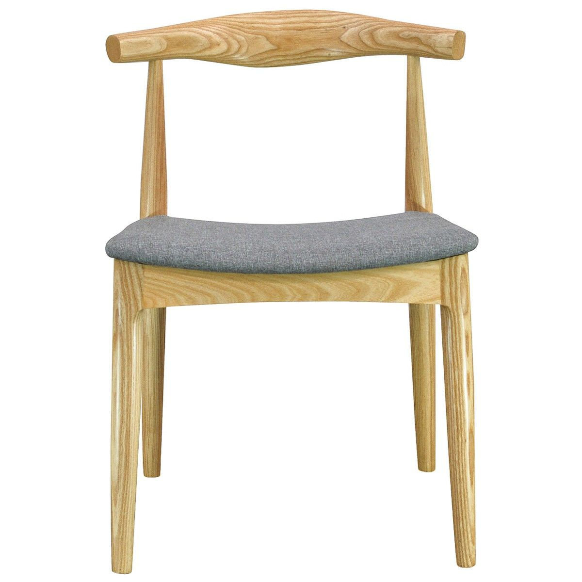 Replica Hans Wegner Elbow Chair with Fabric Seat, Natural / Grey
