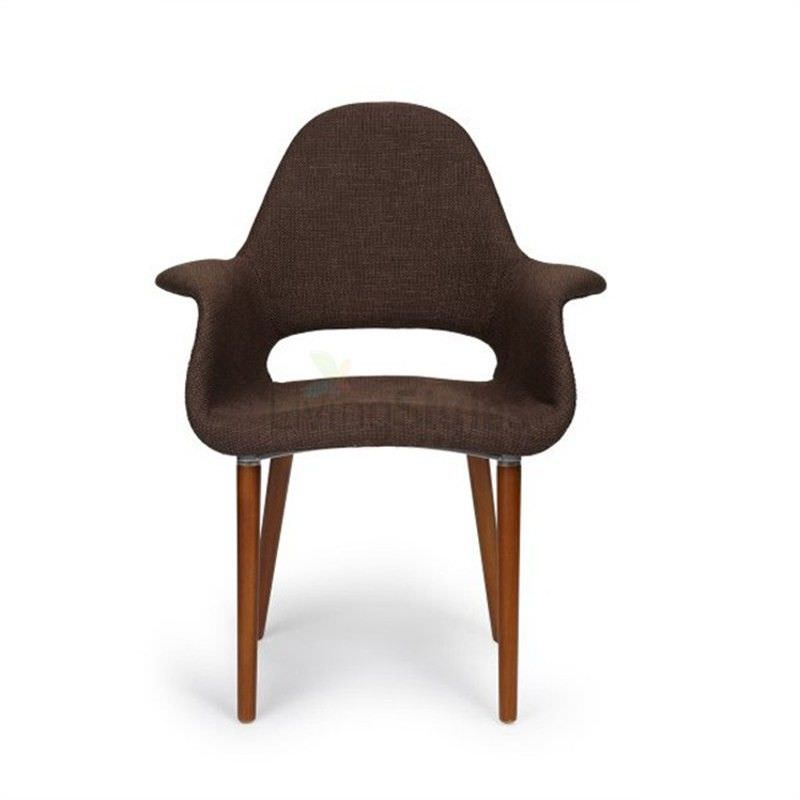 Replica Eames Saarinen Organic Commercial Grade Fabric Upholstered Dining Armchair - Dark Brown