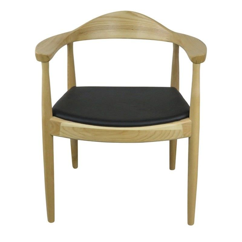 Replica Hans Wegner PP503 Round Dining Armchair with Faux Leather Seat  - Natural