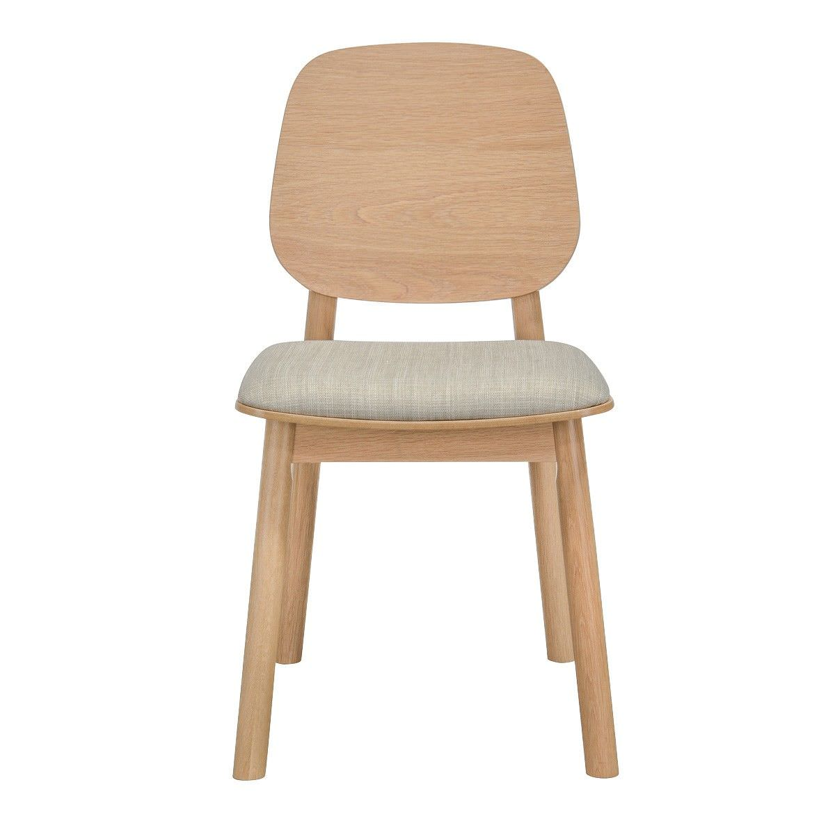 Bente White Oak Timber Dining Chair with Fabric Seat, Panel Back