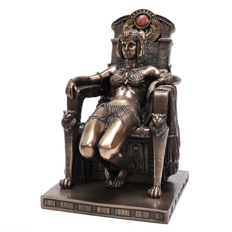 Cast Bronze Figurine of Cleopatra Sitting on Throne