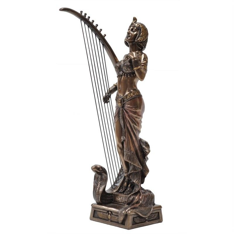 Cast Bronze Figurine of Cleopatra Playing Harp
