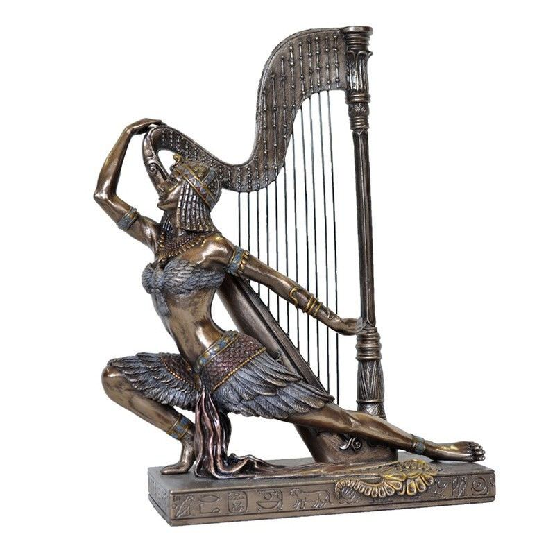 Cast Bronze Figurine of Egyptian Woman Dancing with Harp