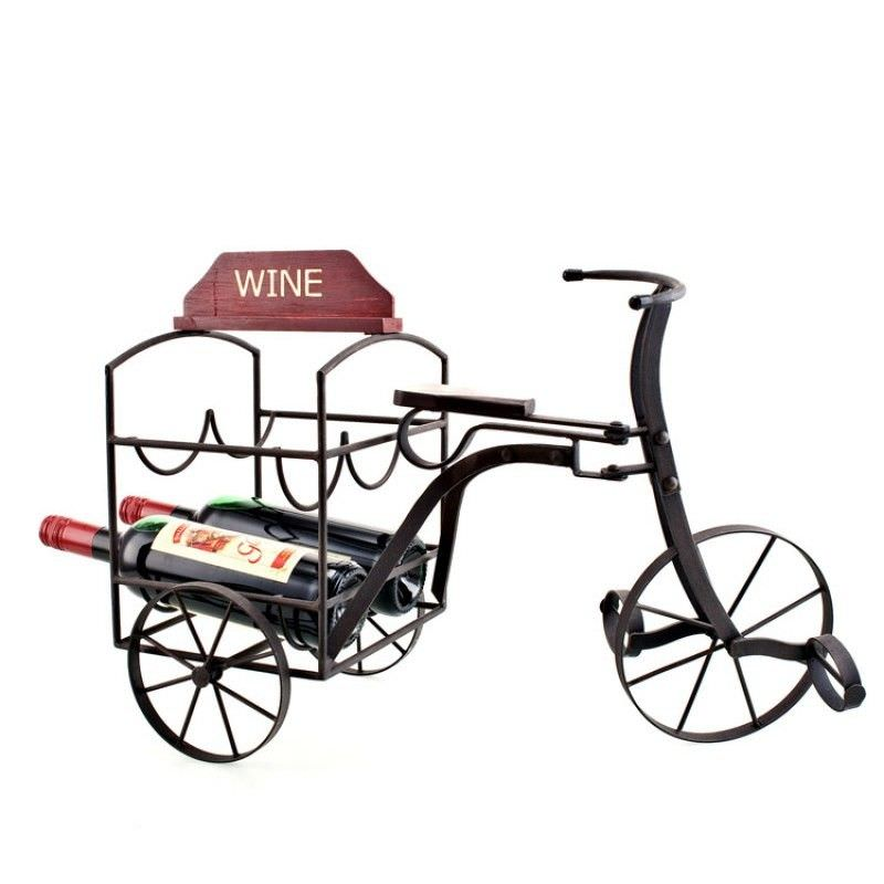 Tricycle Rustic Metal Wine Bottle Holder - 54cm