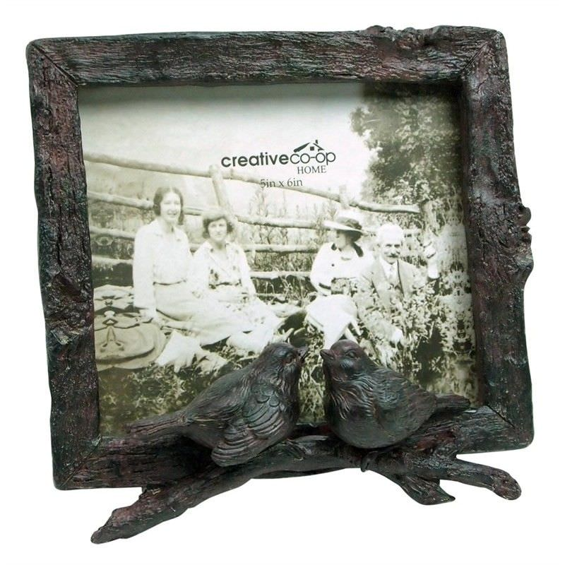 Rustic Resin Photo Frame with Birds