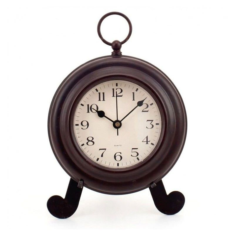 Mantle Round Metal Clock on Easel - 16cm