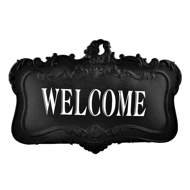 French Black Tin Wall Plaque(Welcome) - 44.5cm