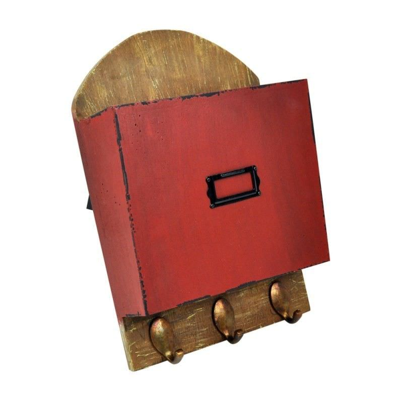 Red Magazine and Letter Holder with 3 Hooks
