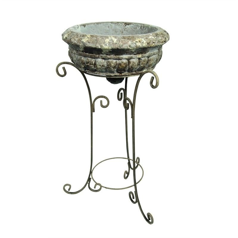Mini Rustic Cement Planter with Metal Stand