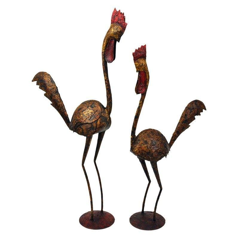 Set of 2 Goethe Hand Painted Metal Roosters